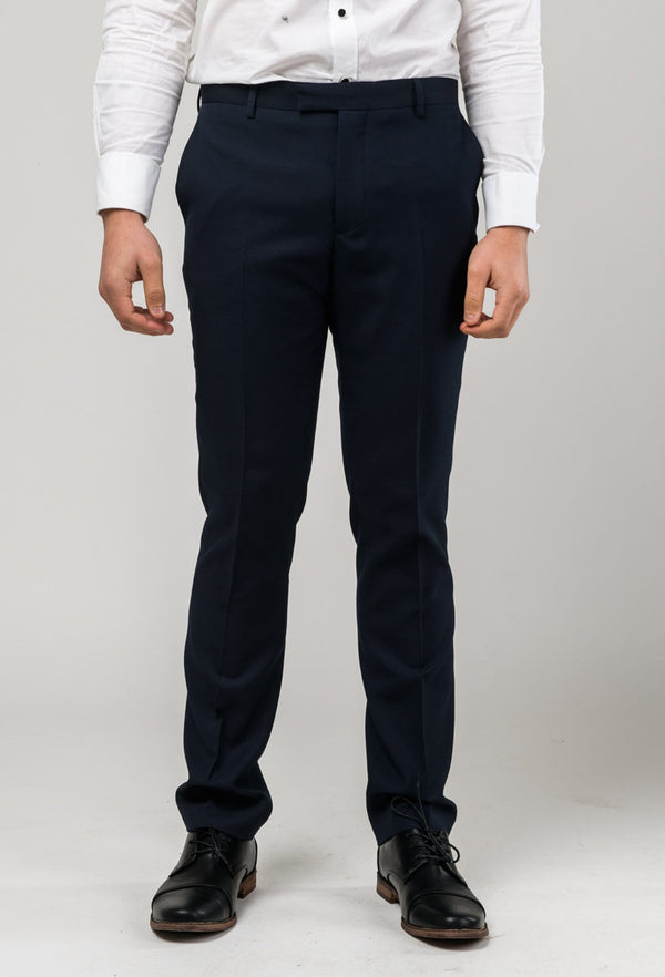 A front on view of the Aston slim fit laneport trouser in navy A049301T