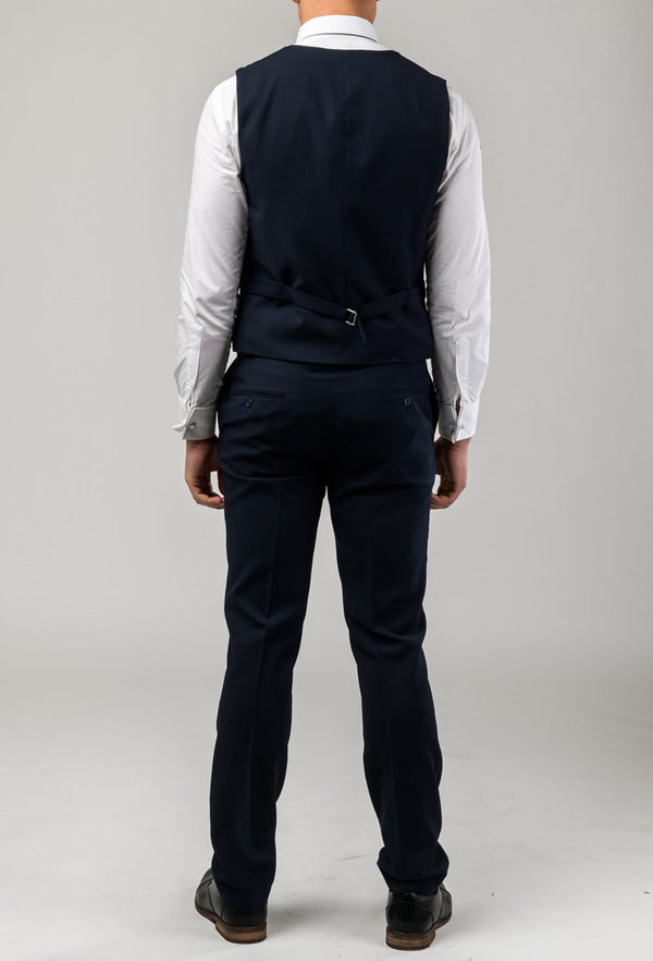 A back view of the Aston slim fit laneport vest in navy A049301V including the rear tab adjuster detail