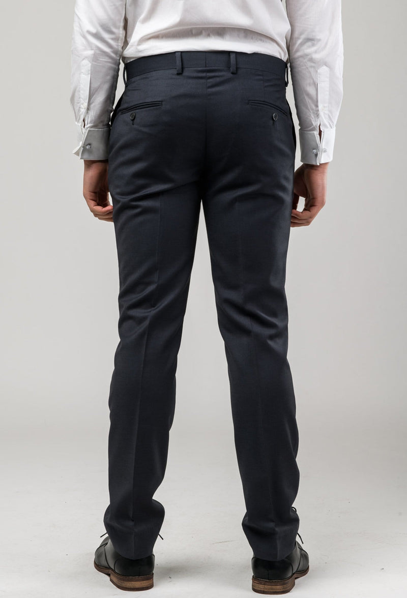 a back view of the Aston slim fit laneport trouser in charcoal A019301T