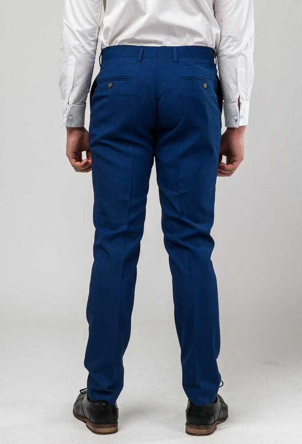 a reverse view of the Aston slim fit leon trouser in blue A042718T