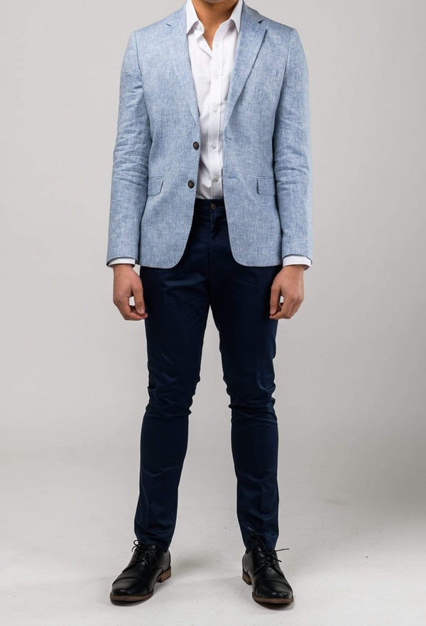 a front view of a model wearing the aston slim fit miller sports jacket in blue pure linen A041019