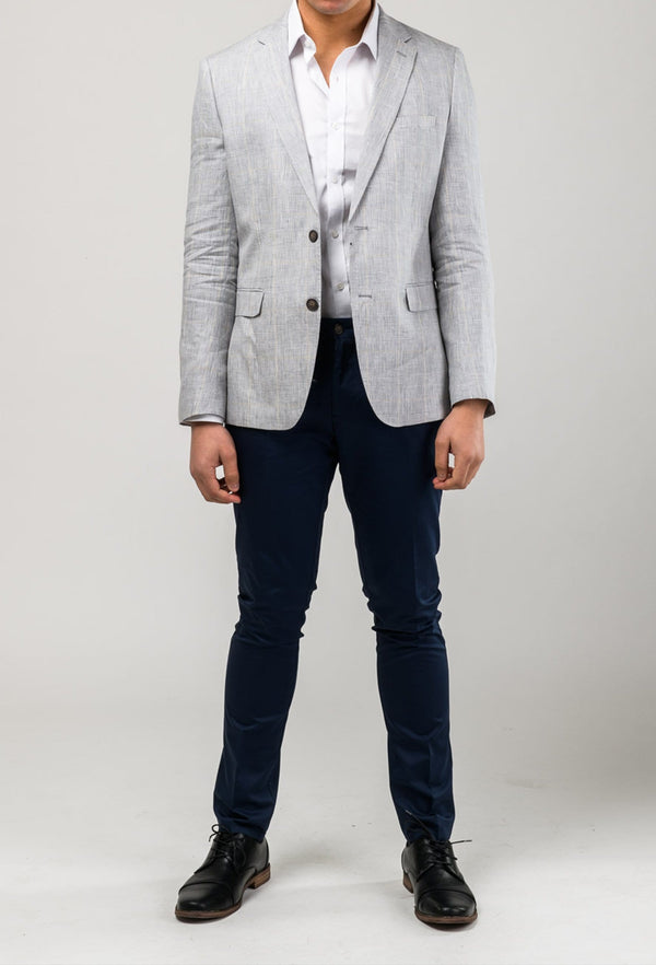 a model facing forward wearing the Aston slim fit miller sports jacket in grey pure linen A0314232 and the cooper chino