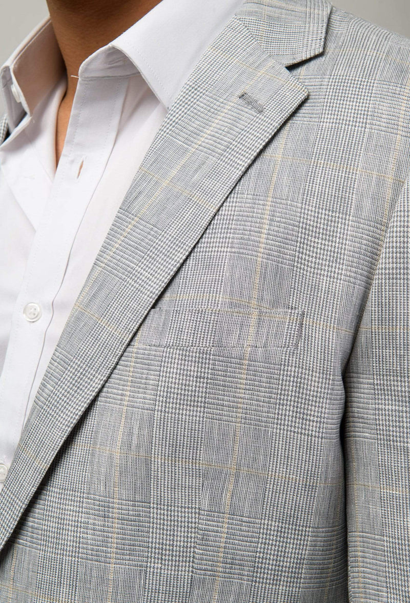 a close up of the lapel detail on the Aston slim fit miller sports jacket in grey pure linen A0314232