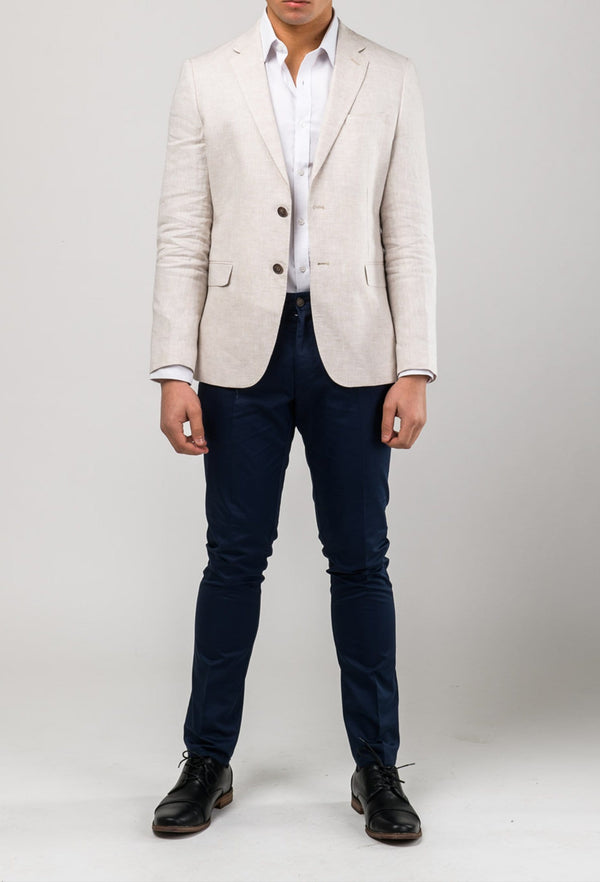 front view of model wearing the Aston slim fit miller sports jacket in beige linen A091013