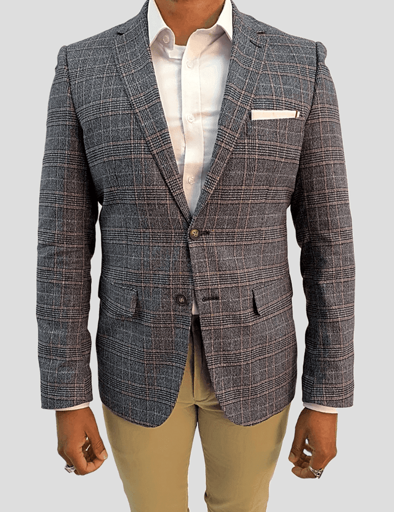 Aston slim fit sports jacket in grey check wool blend