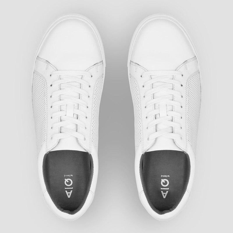 the aquila white mens sneaker with lace up and perforated design