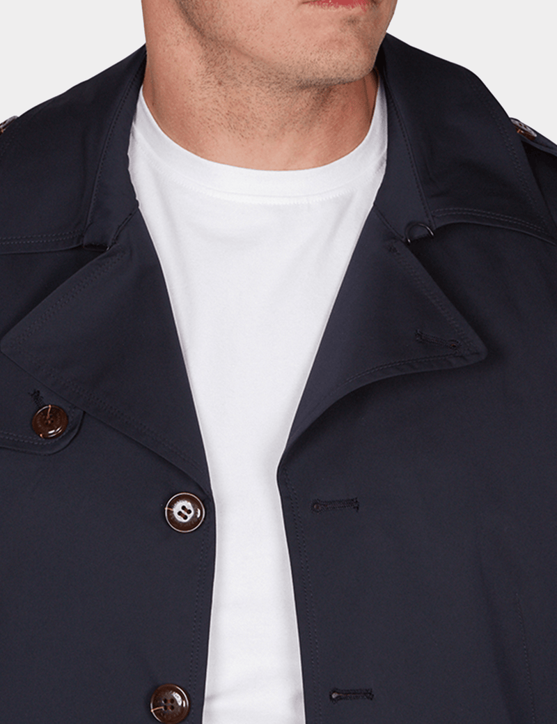a view of the collar on the slim fit jeff banks mens trench coat in navy K107991094