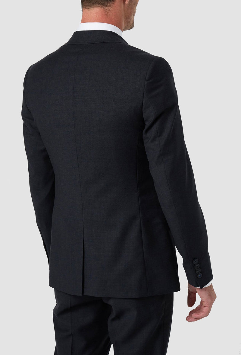 the back of the wolf kanat slim fit hearts suit jacket in charcoal pure wool
