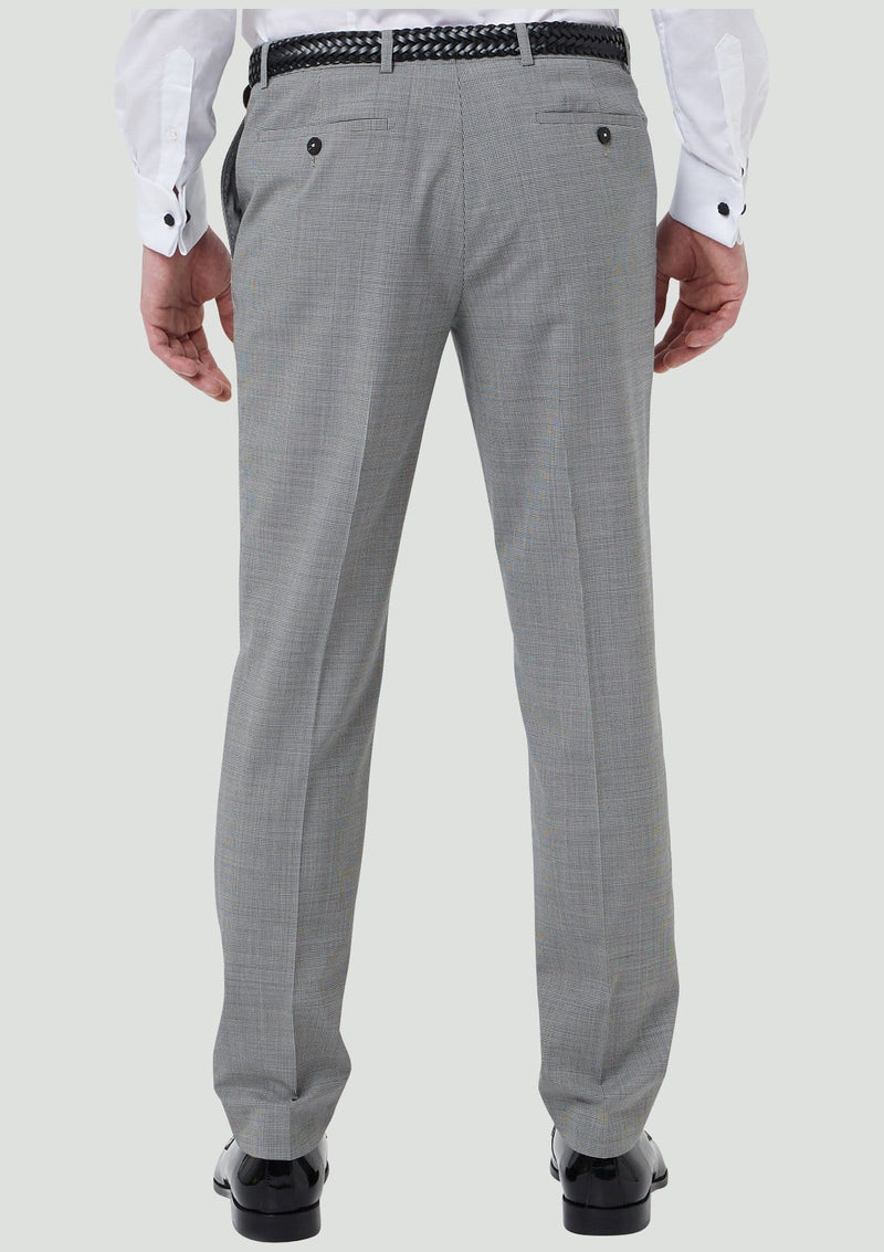 back of the wolf kanat slim fit yury mens suit trouser in black and white houndstooth 7WK8258.