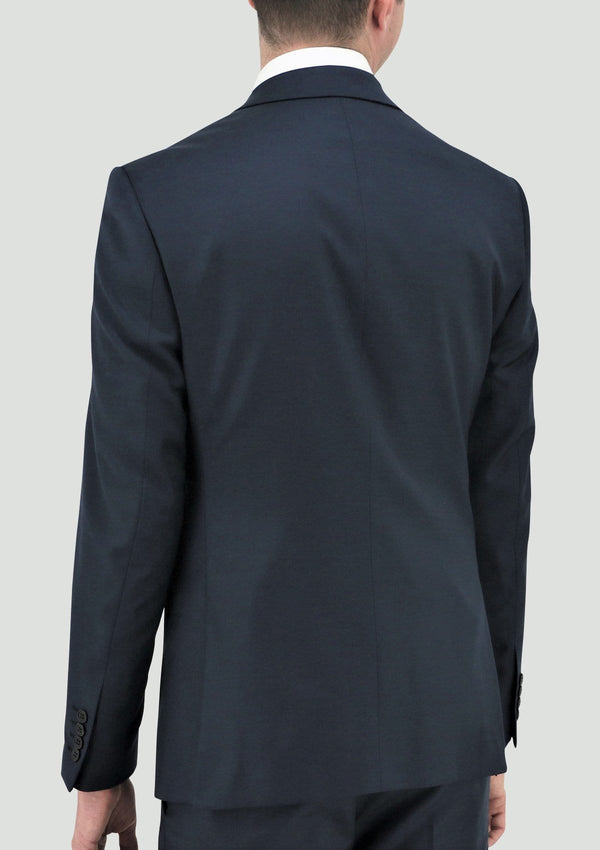 a back view of the Daniel Hechter slim fit shape suit jacket in deep blue pure wool