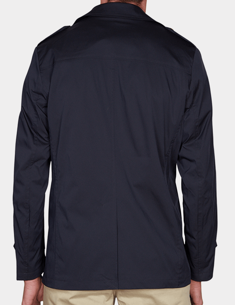 back view of the slim fit jeff banks mens trench coat in navy K107991094