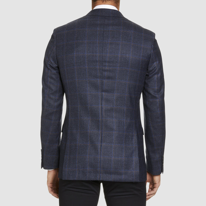 a back view of the slim fit studio italia jacob jacket in navy australian pure wool ST-466-11