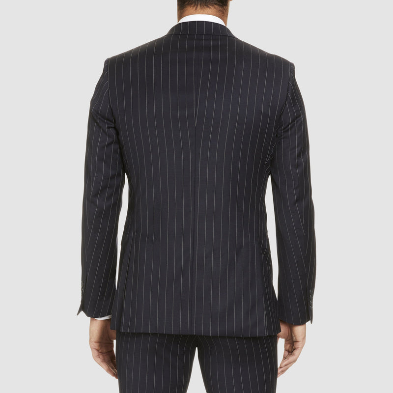 the back view of the slim fit studio italia rowland suit in navy pin stripe wool ST472-11