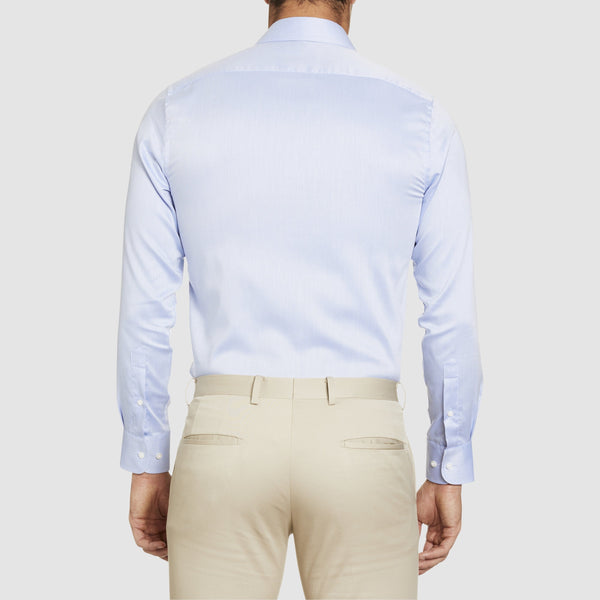 a back view of the studio italia slim fit spencer business shirt in blue cotton  ST-02