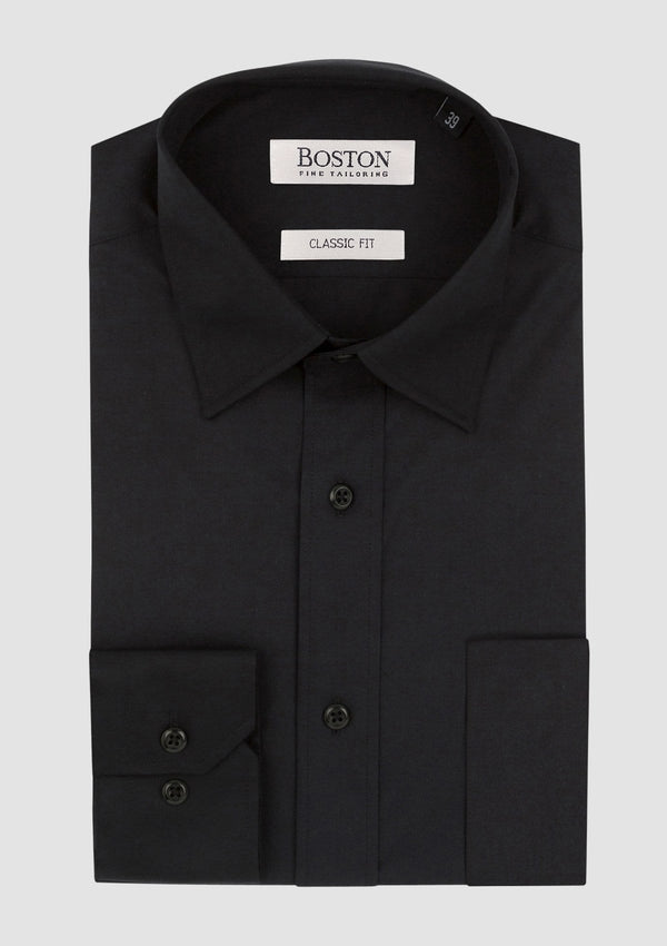 the boston classic fit mens business or formal shirt in black cotton ST5WTBB