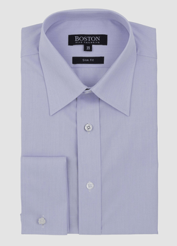 the boston liberty french cuff mens business shirt in meauve cotton folded on a plain grey background