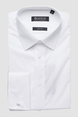 Boston slim fit liberty french cuff shirt in white