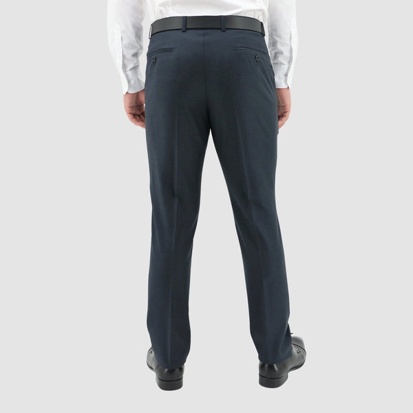 the back of the Boston classic fit lyon trouser in blue pure wool