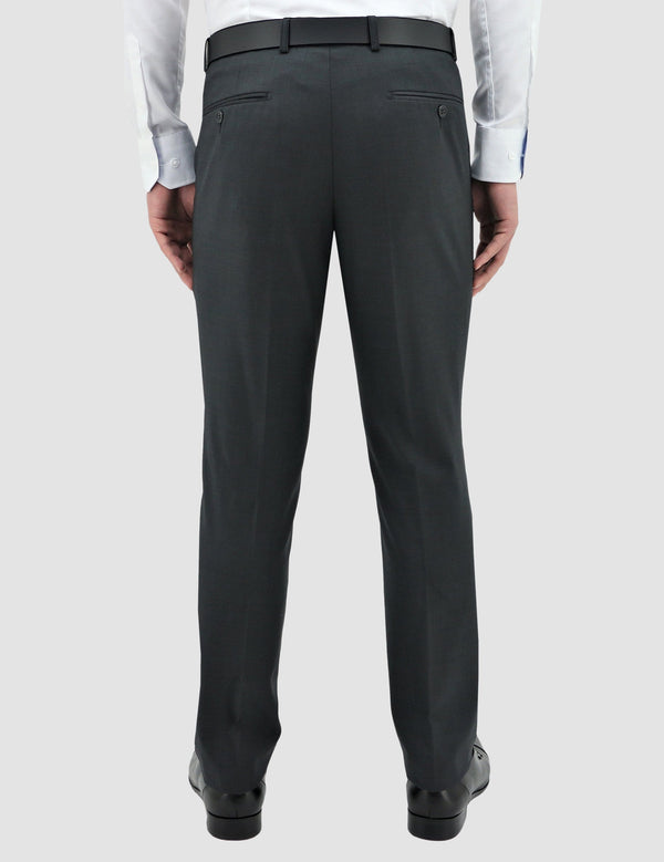 a back view of the boston classic fit lyon trouser in charcoal pure wool STB704-02 MICHEL