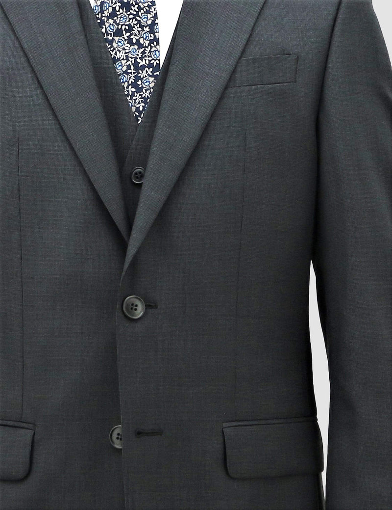 a close up of the lapel detail on the boston classic fit michel suit jacket and vest in charcoal pure wool B704-02