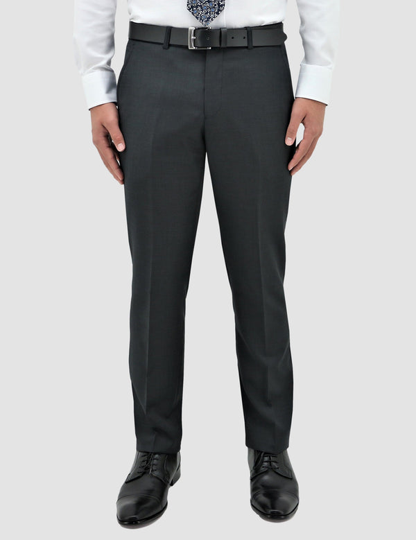 boston classic fit lyon trouser in charcoal pure wool STB704-02 MICHEL
