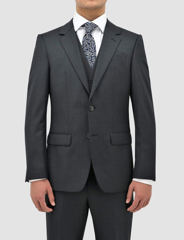 boston classic fit michel suit in charcoal pure wool B704-02 suit layered over the matching vest and white shirt
