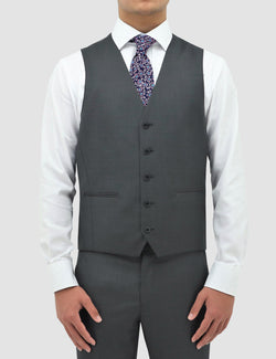 classic fit boston michel suit vest in grey pure wool B704-03 layered over a white shirt