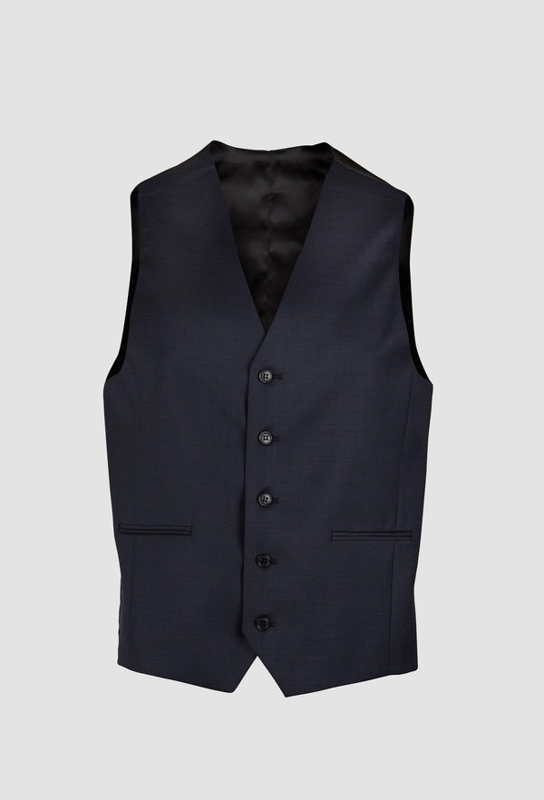 Boston classic fit Ryan vest in blue pure Australian wool with five button closure