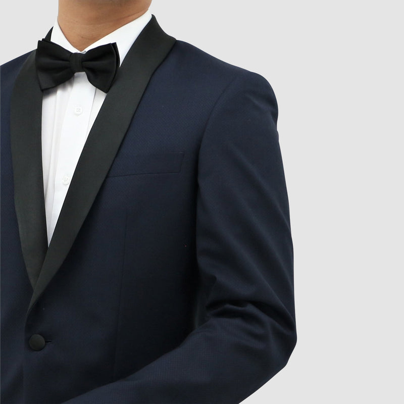 a close up view of the Boston classic fit shawl tuxedo jacket in navy blue pure wool B203-11