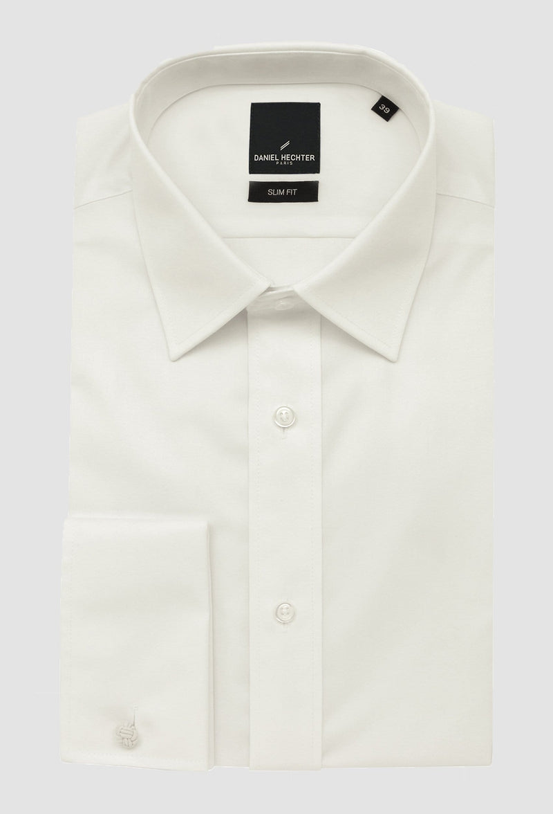 boston slim fit liberty shirt in cream with a french cuff folded on a plain background