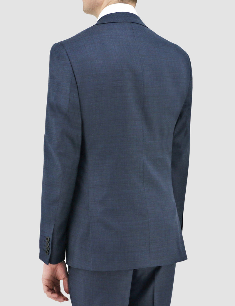 boston slim fit shape suit in navy blue pure wool B102-11 jacket showing the back and side details