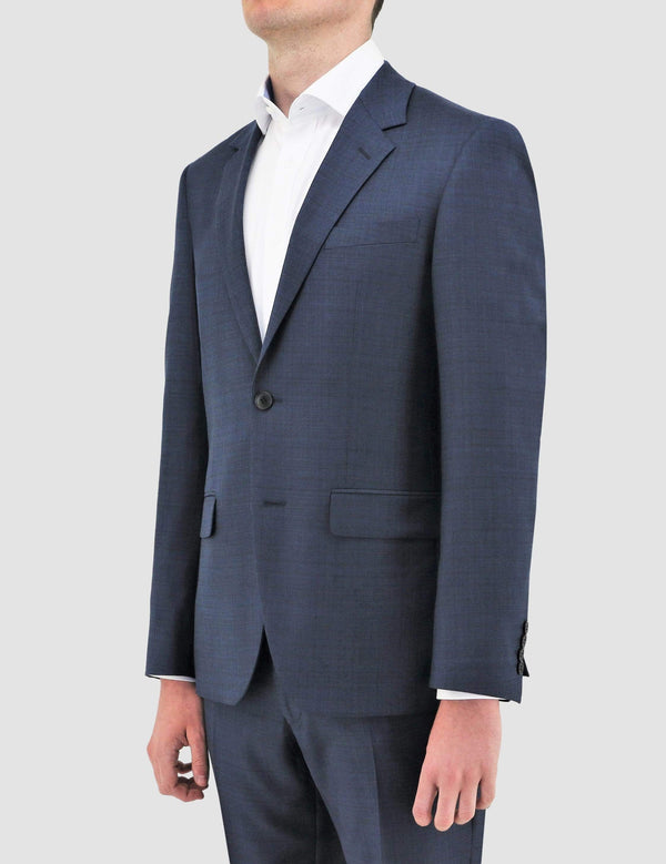 boston slim fit shape suit in navy blue pure wool B102-11 jacket side view
