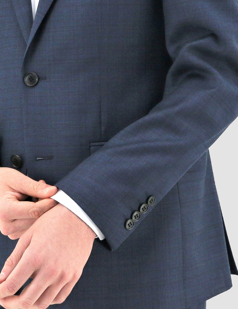button sleeve details on the boston slim fit shape suit in navy blue pure wool B102-11 jacket