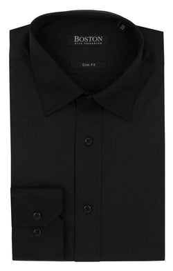 slim fit boston liberty mens business shirt in black