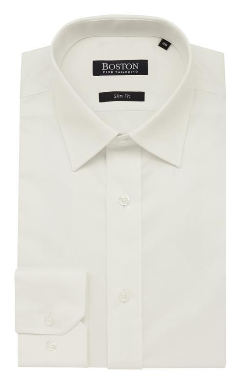 boston classic fit liberty business shirt in cream cotton 5WT