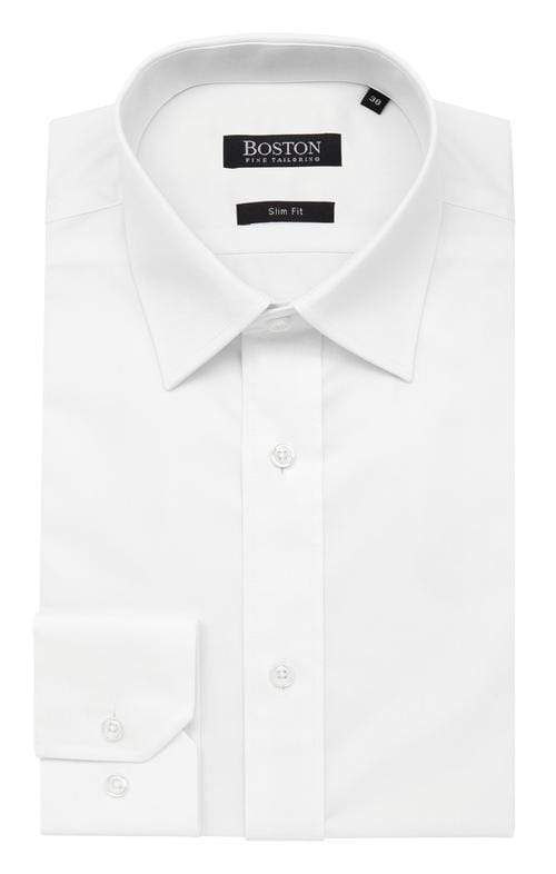 a folded view of the boston liberty business mens business shirt in white cotton