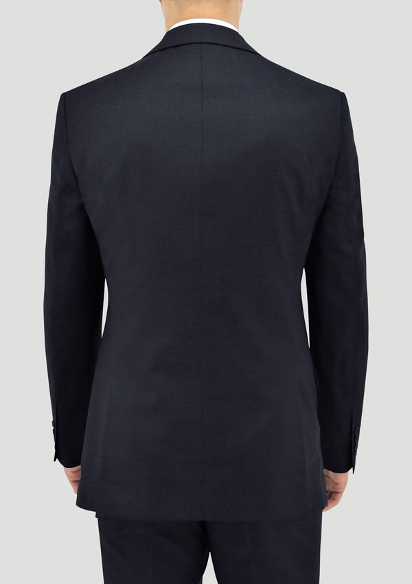 a back view of the boston classic fit michel mens suit jacket in navy blue wool STB106-11