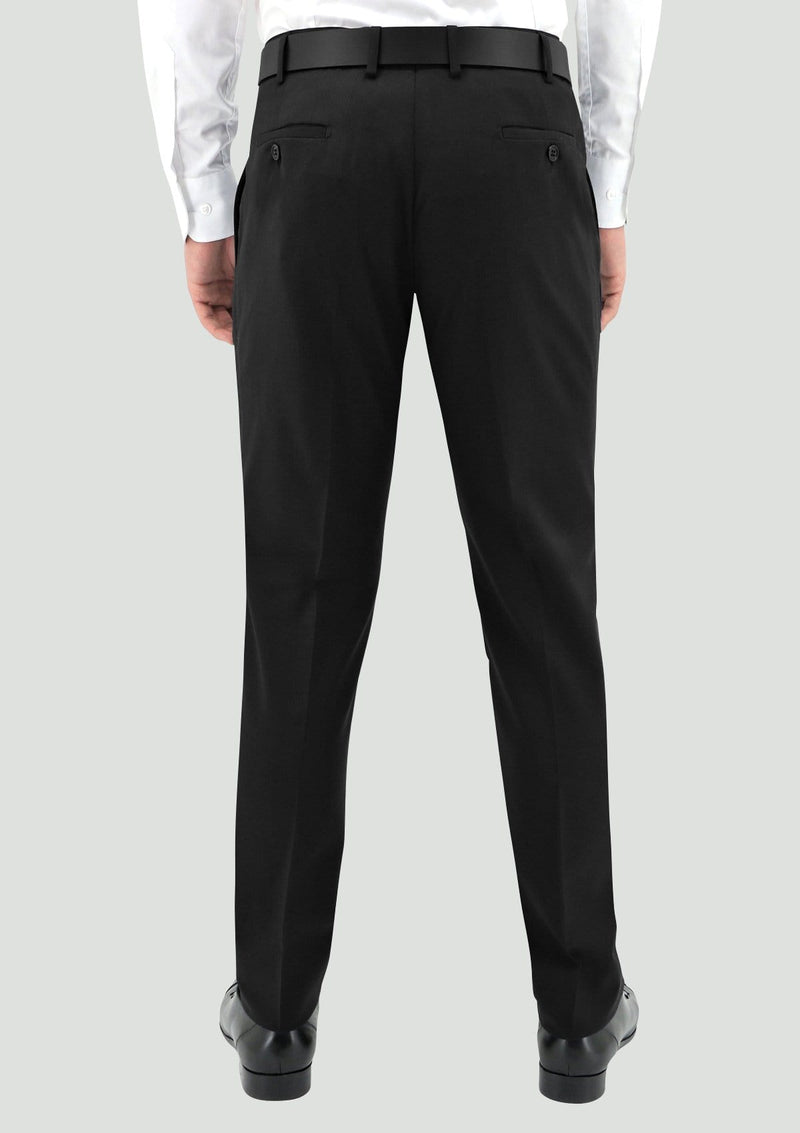 a back view of the boston classic mens tuxedo suit trouser in black pure wool STB203-01