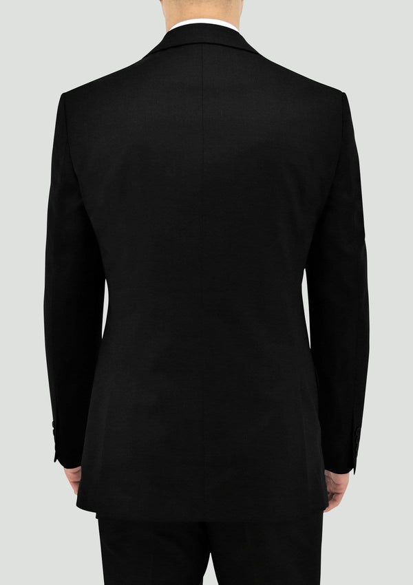 back view of the boston classic fit michel mens suit jacket in black pure wool B106-01