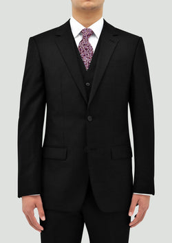 a front view of the Boston slim classic fit lyon mens suit in black pure wool B106-01