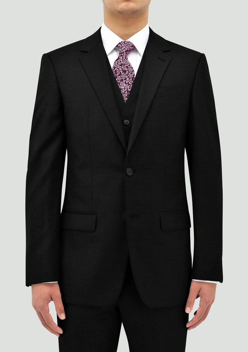 a front view of the Boston slim classic fit lyon big mens suit in black pure wool B106-01