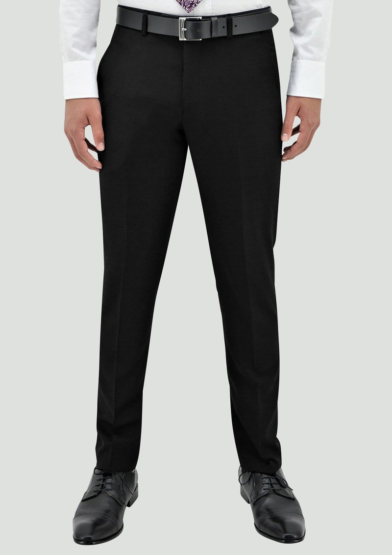 Boston slim fit lyon mens suit trouser in black pure wool B106-01
