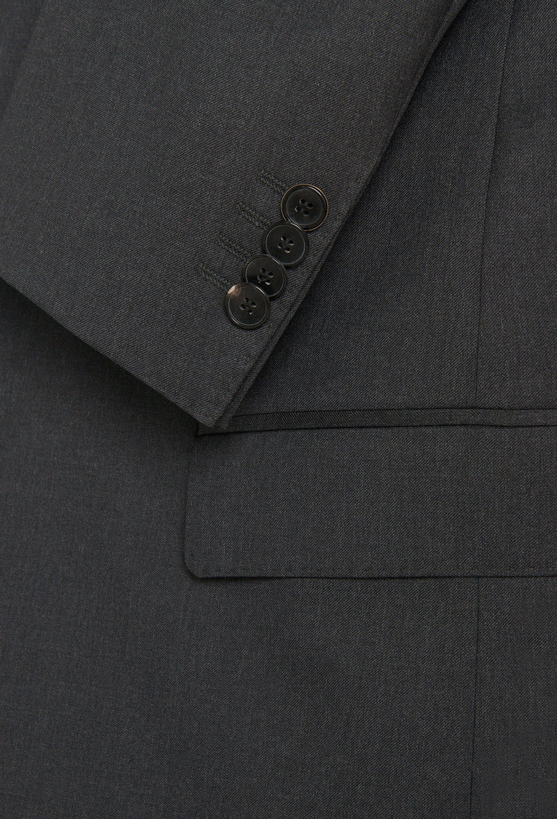 the button and pocket details of the Hugo Boss slim fit heyes suit jacket in dark grey pure wool HB50318498-021