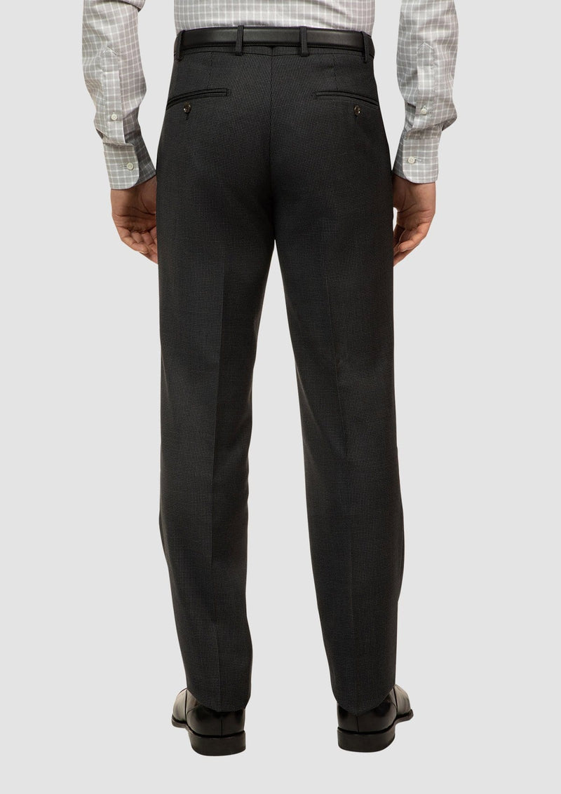 a back view of the cambridge interceptor mens suit trouser in houndstooth charcoal pure wool