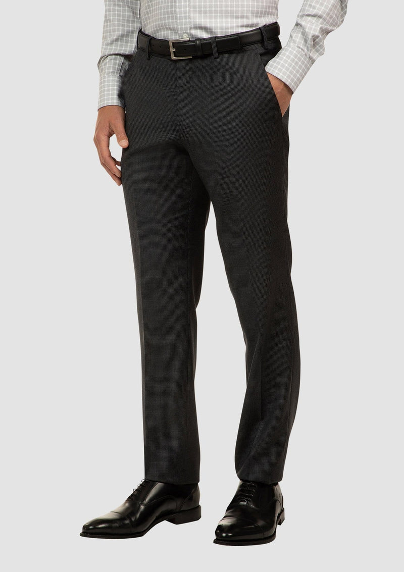 a side view of the cambridge interceptor mens suit trouser in houndstooth charcoal pure wool FCJ336