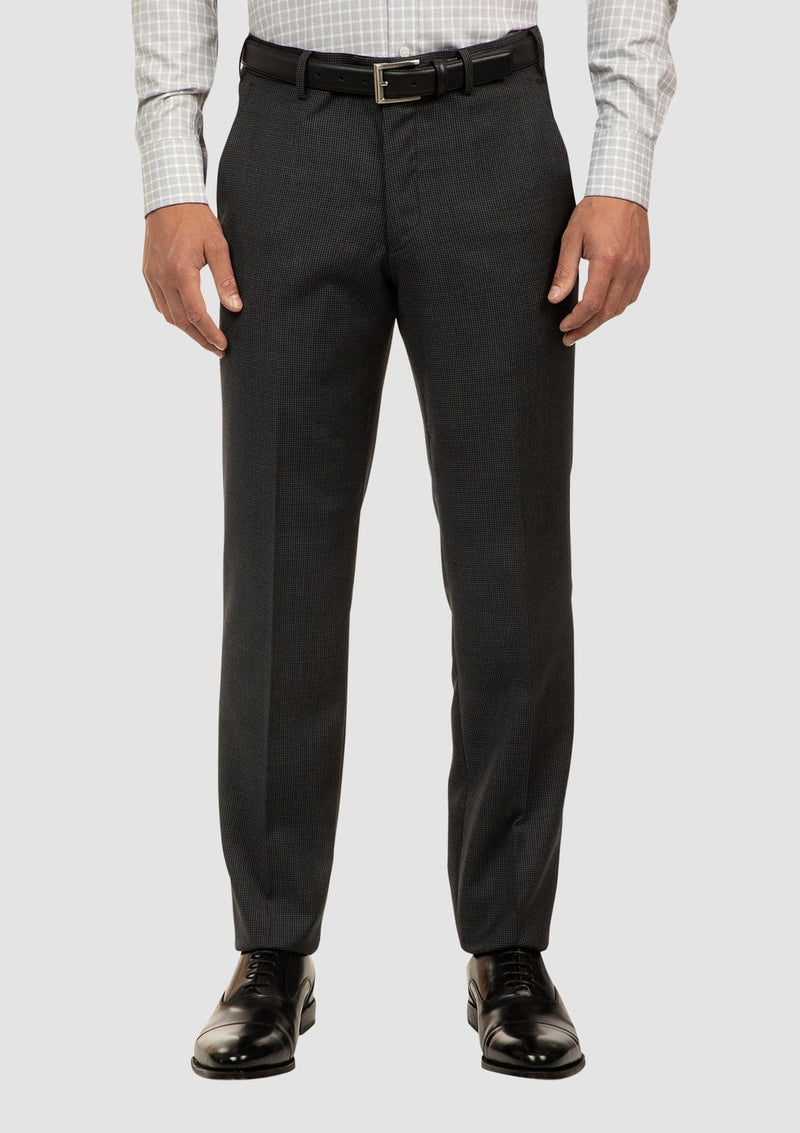 a front view of the cambridge interceptor mens suit trouser in houndstooth charcoal pure wool
