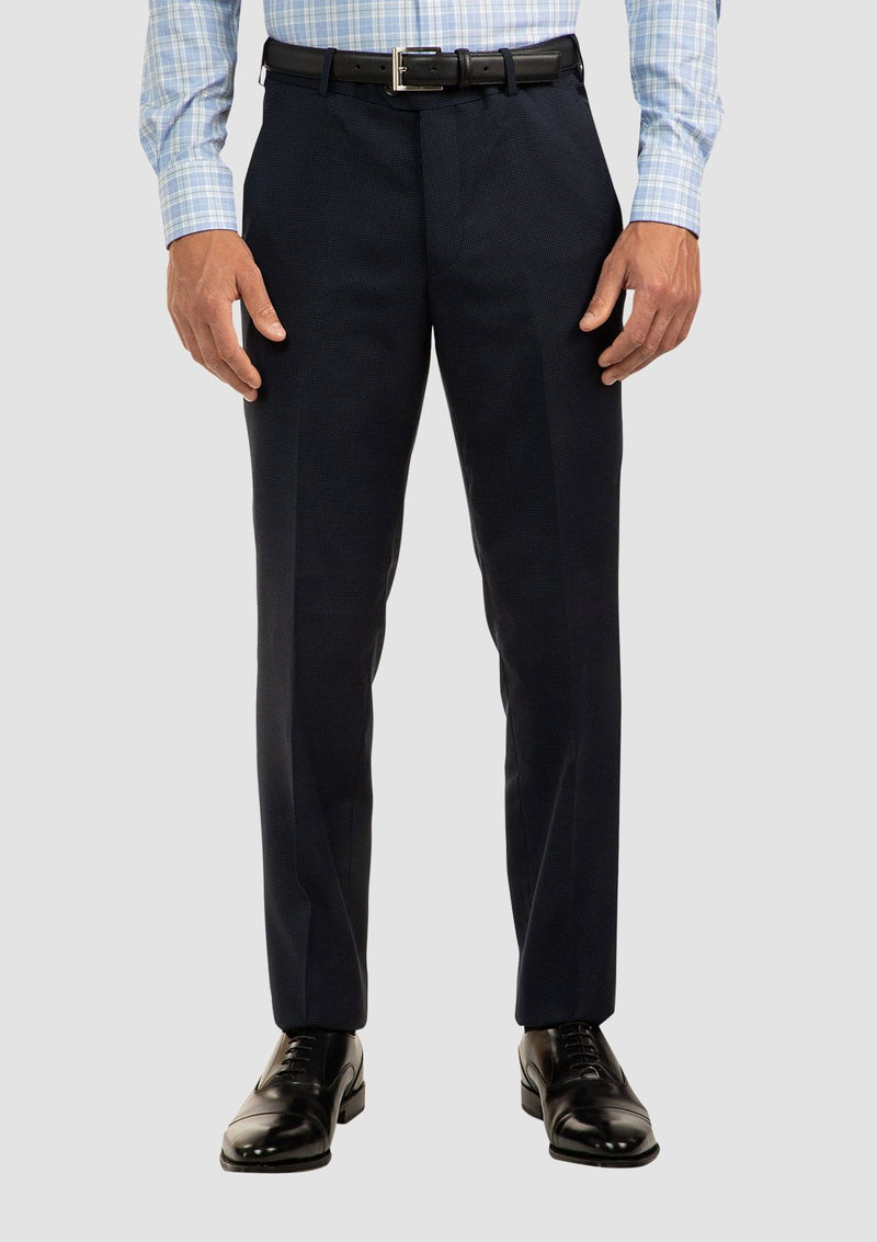 a front on view of the cambridge interceptor trouser in navy blue pure wool FCJ336