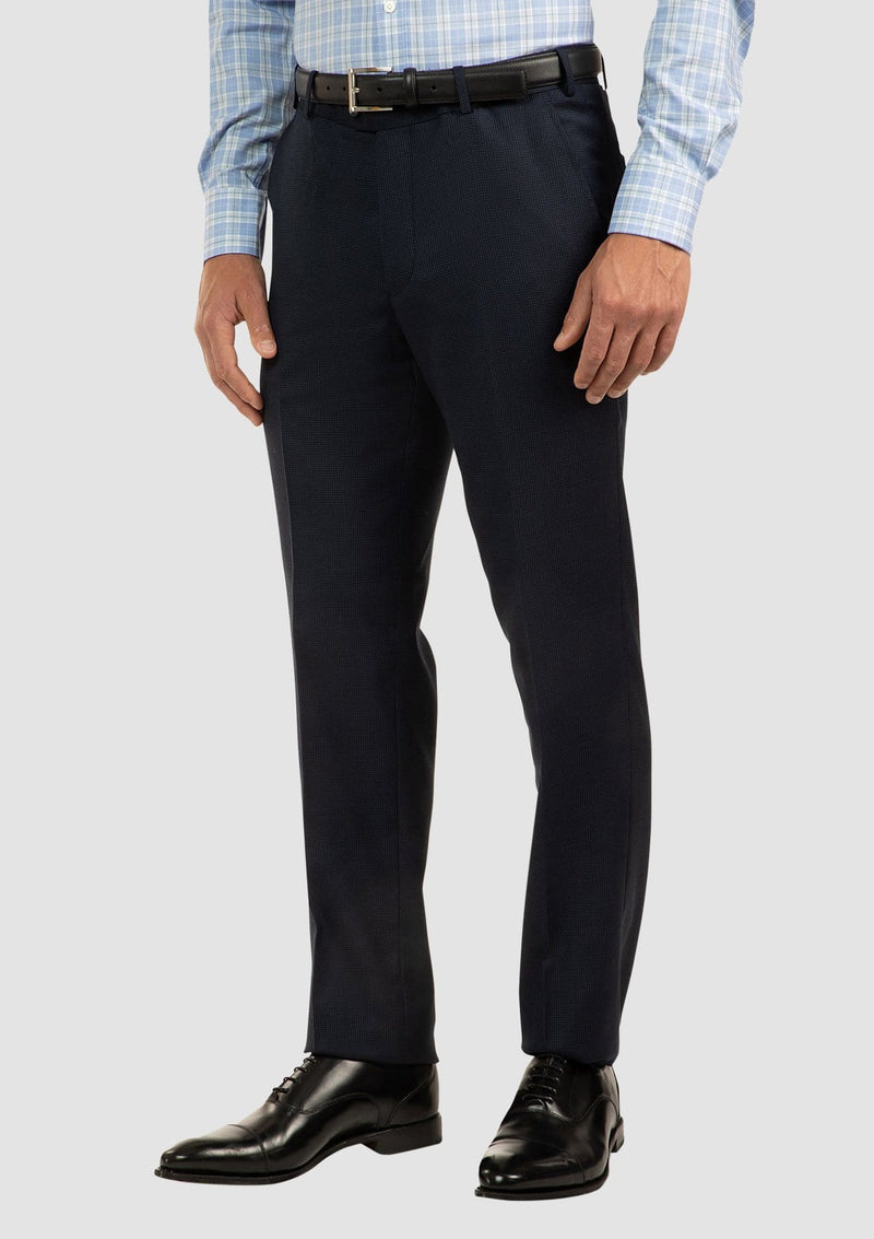 a side on view of the cambridge interceptor trouser in navy blue pure wool FCJ336