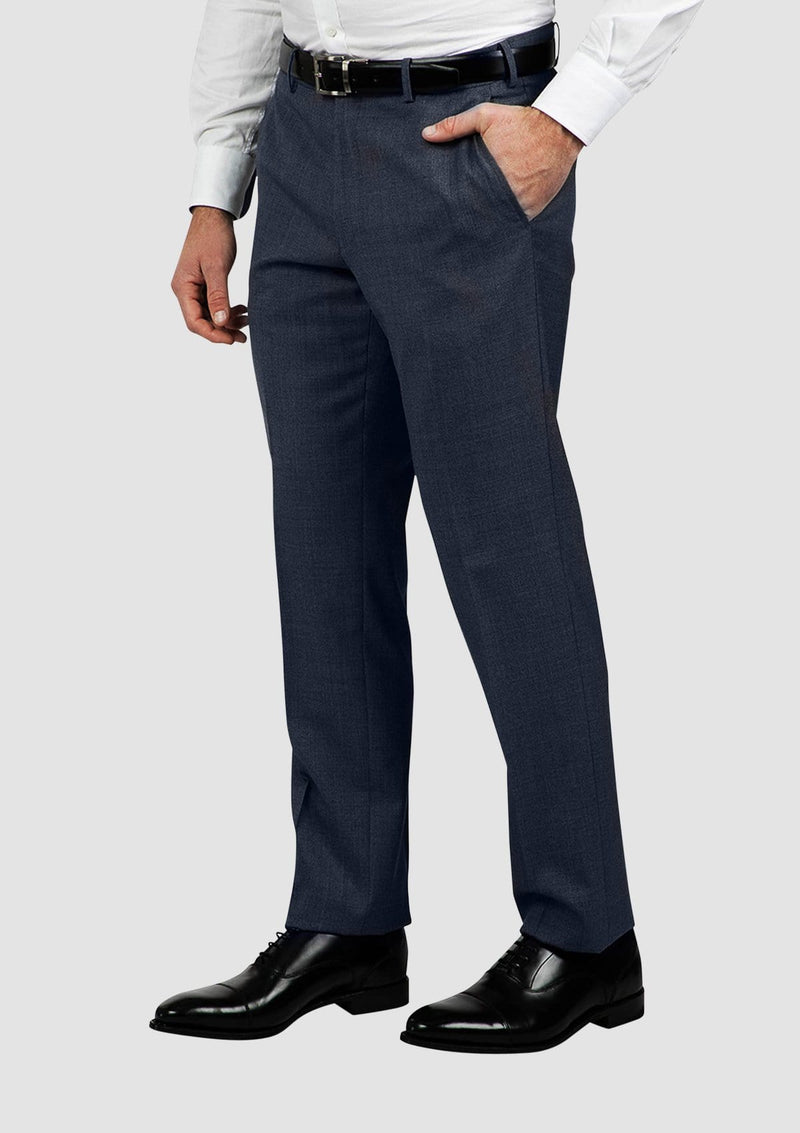 a side view of the cambridge jett mens suit trouser in blue FCG280