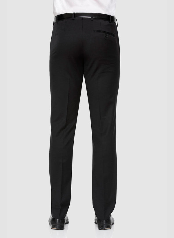 A back view of the cambridge classic fit interceptor trouser in black pure wool F275